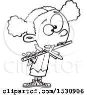 Lineart Cartoon African American Girl Playing A Flute