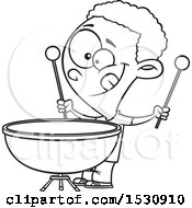 Clipart Of A Cartoon Outline African American Boy Playing A Kettle Drum Royalty Free Vector Illustration