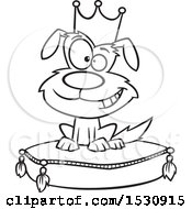 Clipart Of A Cartoon Outline Pampered Dog Wearing A Crown And Sitting On A Pillow Royalty Free Vector Illustration
