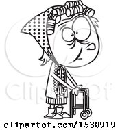 Clipart Of A Cartoon Outline Senior Girl Using A Walker Royalty Free Vector Illustration