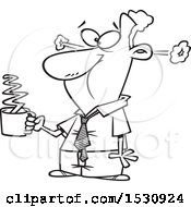 Lineart Cartoon Business Man Steaming After Drinkng Hot Coffee