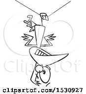 Lineart Cartoon Clumsy Bird Hanging Upside Down From A Wire