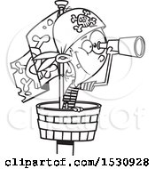 Clipart Of A Cartoon Outline Boy Pirate Using A Telescope In A Crows Nest Royalty Free Vector Illustration
