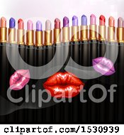 Clipart Of A Border Of Colorful Lipstick Tubes Over Lips Royalty Free Vector Illustration