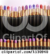 Clipart Of A Background With Lipstick Tubes Royalty Free Vector Illustration