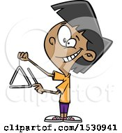 Clipart Of A Cartoon Girl Playing A Triangle Instrument Royalty Free Vector Illustration