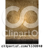 Poster, Art Print Of 3d Wood Surface Against A Vintage Wallpaper Background