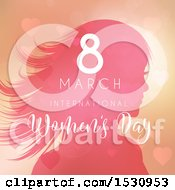 Clipart Of A Happy Womens Day Design With A Silhouetted Woman And Hearts Royalty Free Vector Illustration by KJ Pargeter