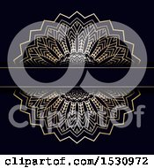 Poster, Art Print Of Golden Mandala Design With A Text Bar On Black
