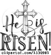 Poster, Art Print Of He Is Risen Easter Design With A Cross