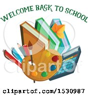 Clipart Of A Welcome Back To School Design Royalty Free Vector Illustration by Vector Tradition SM