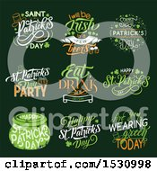Clipart Of St Patricks Day Design Elements On Green Royalty Free Vector Illustration by Vector Tradition SM