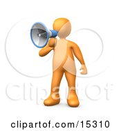 Orange Person Speaking Through A Megaphone Clipart Illustration Image