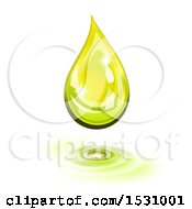 Clipart Of A 3d Green Oil Drop Over Ripples On A White Background Royalty Free Vector Illustration