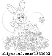 Black And White Female Easter Bunny Rabbit With A Basket And Eggs In Flowers
