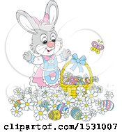 Cute Gray Female Easter Bunny Rabbit With A Basket And Eggs In Flowers