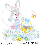 Cute Gray Female Easter Bunny With A Basket And Eggs In Flowers