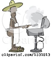 Cartoon Nude Black Man Wearing An Apron And Cooking On A Bbq Grill