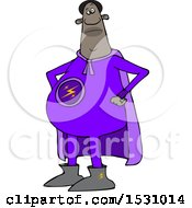 Poster, Art Print Of Cartoon Chubby Black Male Super Hero With His Hands On His Hips