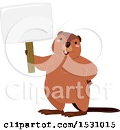 Clipart Of A Happy Beaver Holding A Blank Sign Royalty Free Vector Illustration