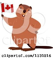 Poster, Art Print Of Happy Beaver Holding A Canadian Flag