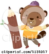 Happy Beaver Student Holding A Wood Pencil