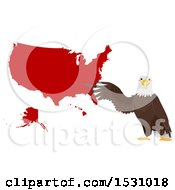 Poster, Art Print Of Bald Eagle Presenting A Red Map Of America