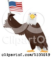 Poster, Art Print Of Bald Eagle Holding Up An American Flag
