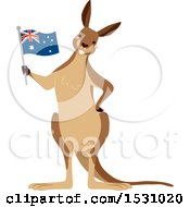 Clipart Of A Kangaroo Holding An Australian Flag Royalty Free Vector Illustration