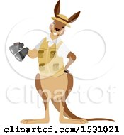Clipart Of A Happy Aussie Kangaroo Explorer With Binoculars Royalty Free Vector Illustration