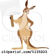 Clipart Of A Happy Kangaroo Holding A Blank Sign Royalty Free Vector Illustration