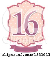 Poster, Art Print Of Number Sixteen Design With Polka Dots