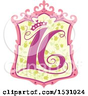 Poster, Art Print Of Number Sixteen Design With A Princess Crown
