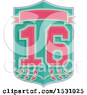 Poster, Art Print Of Number Sixteen Design With A Shield