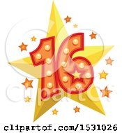 Poster, Art Print Of Number Sixteen Design With Stars
