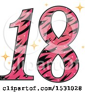 Poster, Art Print Of Pink Number Eighteen With A Zebra Pattern