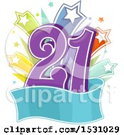 Poster, Art Print Of Number Twenty One With Stars And A Banner