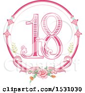 Poster, Art Print Of Pink Number Eighteen In A Floral Frame