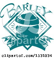 Clipart Of A Teal Barley Design Royalty Free Vector Illustration