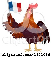 Clipart Of A Rooster Holding A French Flag Royalty Free Vector Illustration