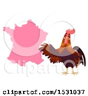 Poster, Art Print Of Rooster With A Pink Map Of France