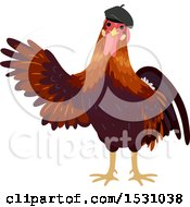 Rooster Wearing A French Beret Hat