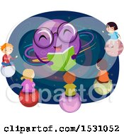 Clipart Of A Group Of Children Listening To A Plate Teacher Read A Book Royalty Free Vector Illustration