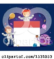 Clipart Of A Birthday Calendar Frame With A Boy And Girl Astronaut And Planet Royalty Free Vector Illustration by BNP Design Studio