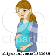 Clipart Of A Happy Pregnant Teen Girl Royalty Free Vector Illustration by BNP Design Studio