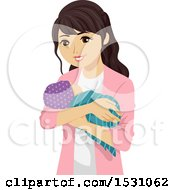 Clipart Of A Teen Mom Holding Her Baby Royalty Free Vector Illustration