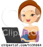 Poster, Art Print Of Breastfeeding Mother Using A Laptop