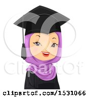 Clipart Of A Happy Female Muslim Graduate Royalty Free Vector Illustration by BNP Design Studio