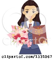Happy Teen Graduate Girl Holding A Diploma And Flowers