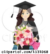 Clipart Of A Happy Teen Graduate Girl Holding Flowers Royalty Free Vector Illustration